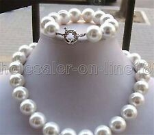 """Natural 14mm White South Sea Shell Pearl Necklace+Bracelet 18""""AAA+"""
