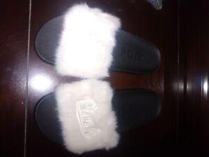Victoria Secret PINK white cream fur slides  (M) VERY RARE