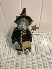 Blue Sky Charlie The Cat Witch Medium Halloween Tea Light Holder 9""