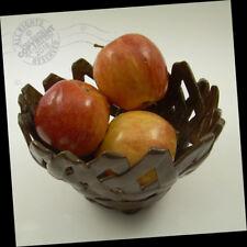 """7"""" Artist Fruit BOWL 2017 Ventura pottery Fired Ceramic SIGNED ooak brown BASKET"""