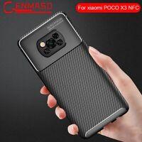 For Xiaomi POCO X3 NFC Case Soft Silicon Cover Carbon Fiber TPU Shockproof ❤❥
