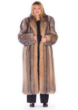 Womens Plus Size Full Length Crystal Fox Fur Coat Genuine Long 52""