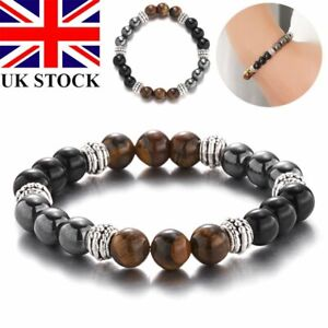 Magnetic Healing Hematite Tiger Eye Bead Bracelet Bangle Pain Relief Weight Loss