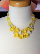 Fantastic Lemon Yellow Lucite and White Glass Beads Double Strand Vintage Neckla