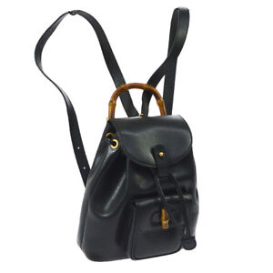 GUCCI Bamboo Line Backpack Hand Bag Black Leather Italy Vintage WA00394b