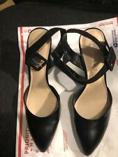 "Shoes, FRANCO SARTO, black leather, slightly pointed toe, 4"" heel, 9 1/2M"
