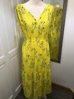 GAP Yellow Floral Maxi Dress Ruffle Detail Size  S 8 Elasticated Waist Wedding