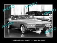OLD HISTORIC PHOTO OF 1972 BUICK RIVIERA SILVER ARROW III MOTOR SHOW DISPLAY