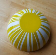 """CATHRINE HOLM Enamelware Large Mixing Serving BOWL Yellow White Stripes 9 1/2"""" !"""