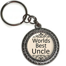 Key Chain Ring Worlds Best UNCLE Antique Silver Handmade USA Male Family Members