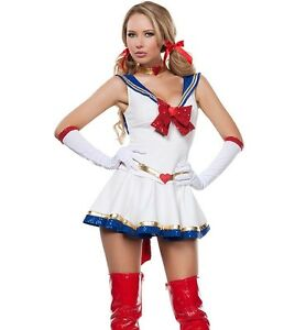 Top Totty Anime Ladies Sailor Heroine Fancy Dress Costume uk 8 to 10