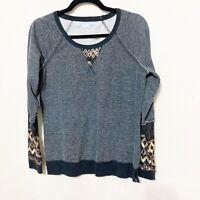 Maurices Women's Sequin Art Crew Neck Lightweight Sweatshirt Size Medium Gray