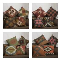 4 Set of Wool Jute Throw Indian Pillow Cover Vintage Handmade Kilim Rugs Mix-24