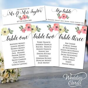 Wedding Party Table Plan Name Place Card seating chart flowers rustic Decoration