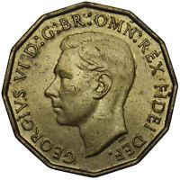 1952 BRASS THREEPENCE - GEORGE VI BRITISH COIN - SUPERB