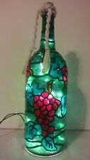 Red Grapes Wine Lover Wine Bottle Lamp Hand Painted Lighted Stained Glass look