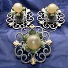 """8"""" Wide Set of three 3 Heavy antique flush mount fixtures Newly Wired 79E"""