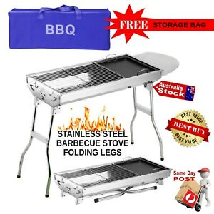 FOLDING STAINLESS STEEL BBQ BARBECUE GRILL STOVE CHARCOAL PICNIC CAMPING FISHING