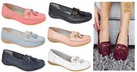 Womens Leather Flat Shoes Jo & Joe Leather Moccasins Shoe Formal Casual Wide Fit