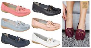 Womens Leather Flat Shoes Jo & Joe Leather Moccasins Shoes Flatform Office Shoes