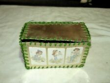 Vintage Hand Made Card Craft PVC Green Piping Seam Joined Gold Young Girl Box