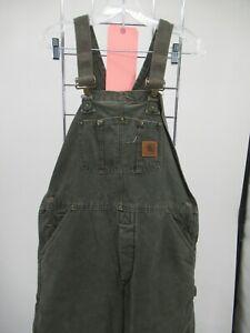 K5810 VTG Carhartt Men's Quilt Line Carpenter Bib Denim Work Overalls Size 34/30