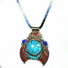 Natural Blue Sapphire Beads With Turquoise And Coral Pendant Jewellery A38-43