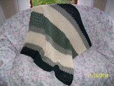 """Small Afghan Afgan Lap or Baby Size Green Cream Mix Stripes 34""""x37"""" Excellent"""