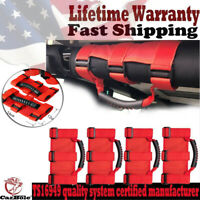4pcs Red Roll Bar Grab Handles Grip Handle For Jeep Wrangler YJ TJ JK JK JL JLU