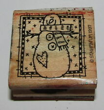 """Snowman Rubber Stamp Stampin Up Scarf Heart Retired Wood Mounted 1.5"""" High"""