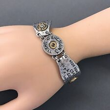 Antique Silver Hammered Shotgun Shell Hide Your Crazy Act Like a Lady Bracelet