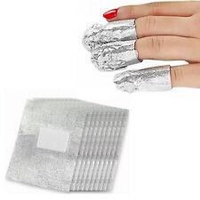 100x Foil Nail Art Soak Off Acrylic Gel Polish Nail Wraps Remover Clean Aluminum