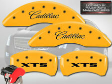 "2013-2019 ""Cadillac XTS"" Front + Rear Yellow MGP Brake Disc Caliper Covers 4pc"