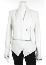 NWT HELMUT LANG FOR INTERMIX White Leather V-Neck Clasp Front Jacket Sz M