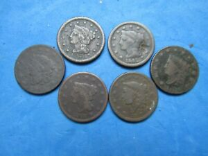 Lot of (6)  Large cents 1819,1820,1837,1843,1945,1851