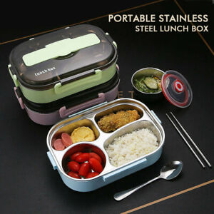 Stainless Steel Thermal Lunch Box For Kids Food Container Round Heat Thermos Set