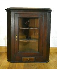 Antique rusic wall mounted glazed corner cupboard / display cabinet
