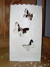 5x Schmetterlinge Herz Lichttüte Kerzentüte Hochzeit Candlebag Luminarias Creme