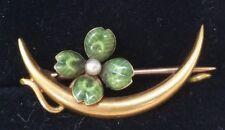 Riker Bros Antique 14k Yellow Gold Enamel Pearl Shamrock Brooch Estate Jewelry