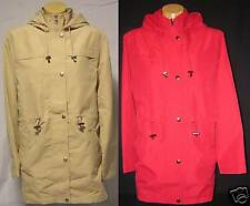 WOMENS: Trench Jacket Coat, Hood, S to XL; RED or BEIGE
