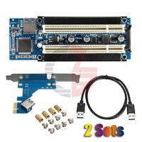 2 Sets USB 3.0 PCI-E Express X1 to Dual PCI Riser Card Slot Expansion Adapter