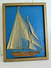 Discounted Vintage Framed Nautical Handmade String Art Sailboat Wall Hanging