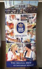 """Hofbrau Beer Towel Beach Pool Germany Oktoberfest 57""""x27"""" Bar Man Cave Sign"""