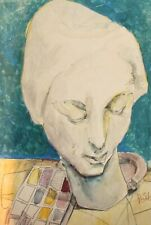 MODERNIST WATERCOLOR PAINTING STILL LIFE WITH SCULPTURE AND ASHTRAY SIGNED