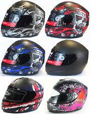 VIPER RS-44 / RS-250 SKULL EVO MATT BLACK FULL FACE MOTORCYCLE MOTORBIKE HELMET
