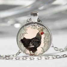 Chicken Tibet silver Dome Glass Cabochon Necklace chain Pendant #72
