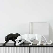Panther Statue Animal Figurine Abstract Style Leopard Sculpture Home Office Desk
