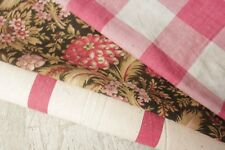 Antique Vintage French toile de Jouy linen hemp fabric material   PROJECT BUNDLE