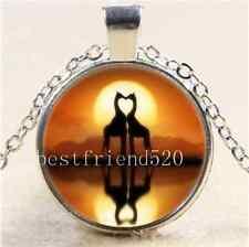 Sunrise Giraffe Love Cabochon Glass Tibet Silver Chain Pendant  Necklace