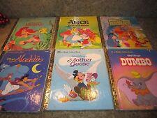 Set of 6 LITTLE GOLDEN BOOK Disney Dumbo Aladdin Alice Wonder Little Mermaid +